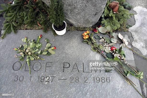 Picture of the grave of former Swedish Prime Minister Olof Palme taken 04 February 2006 just a few blocks away from the place where he was...