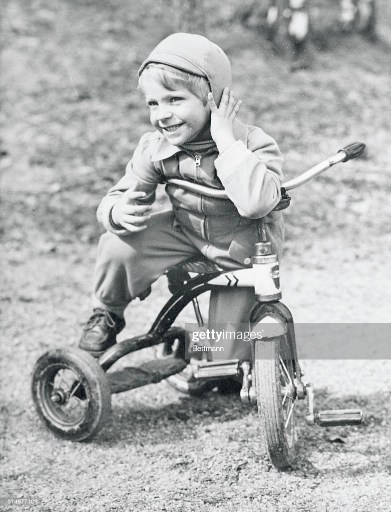 Young Prince Gustav on Tricycle : News Photo