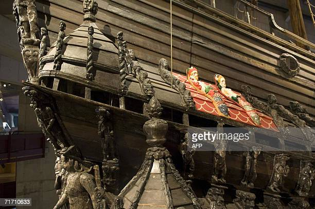 """The stern galley of Swedish 17th century man o'war """"Vasa"""", with a section restored to its original paintwork, in sits drydock in Stockholm 24 August,..."""