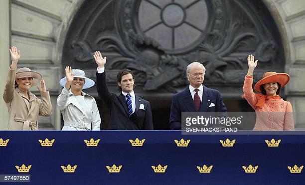 The Swedish Royal family waves to wellwishers from the Stockholm Palace as King Carl Gustaf celebrates his 60th birthday 30 April 2006 Crown Princess...