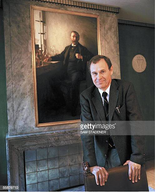TO GO WITH AFP STORY Photo dated 02 October 1997 of Michael Sohlman executive director of the Nobel Foundation and the grandson of Alfred Nobel seen...