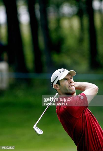 Welsh golfer Bradley Dredge tees off on the second day of play at the PGA European Tour Scandinavian Masters in Kungsangen outside Stockholm 29 July...