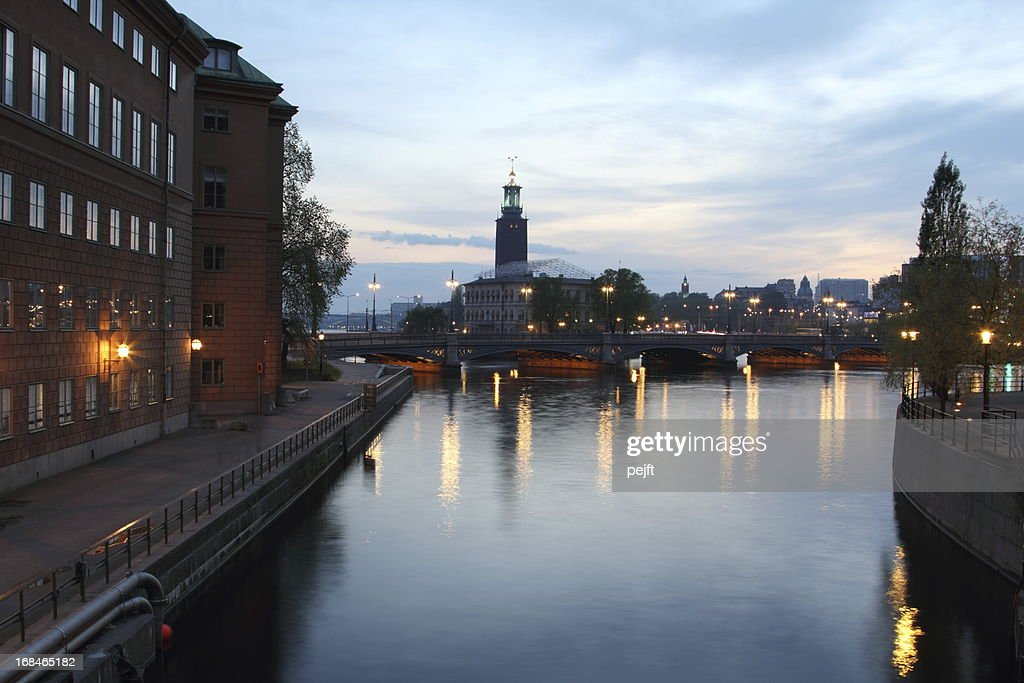 Stockholm Vasabron and the city hall by night : Stock Photo