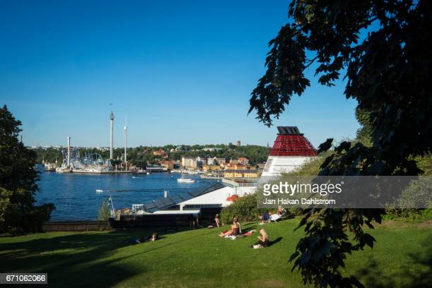 stockholm view of water and djurgården - djurgarden stock pictures, royalty-free photos & images