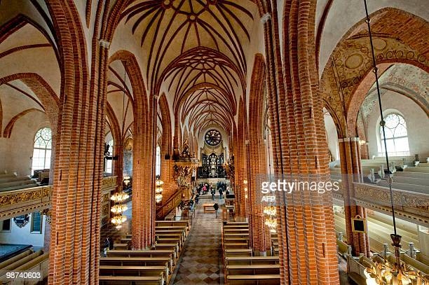 Stockholm's cathedral Storkyrkan is pictured on April 29 after a renovation of the whole building prior to the wedding of Swedish Crown Princess...