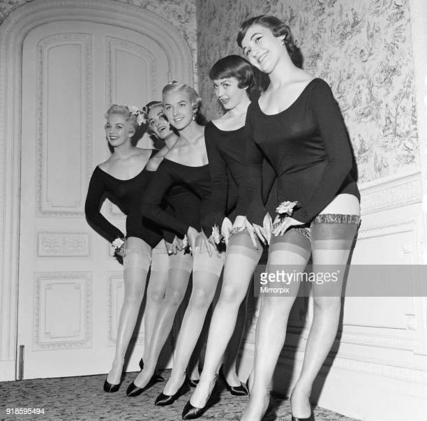 Stocking Fashion Show leg models wearing stockings designed by Italian fashion designer Madame Elsa Schiaparelli 11th September 1957