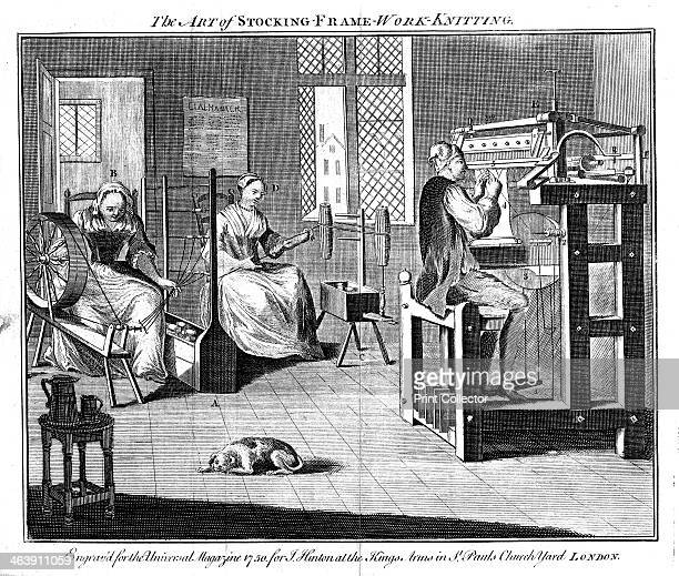 Stocking frame workshop, 1750. Women winding and reeling the yarn, and a man working the knitting frame. From The Universal Magazine, London, 1750.