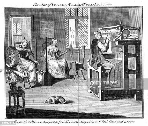 Stocking Frame Workshop showing women winding and reeling the yarn and the man working the knitting frame From The Universal Magazine London 1750