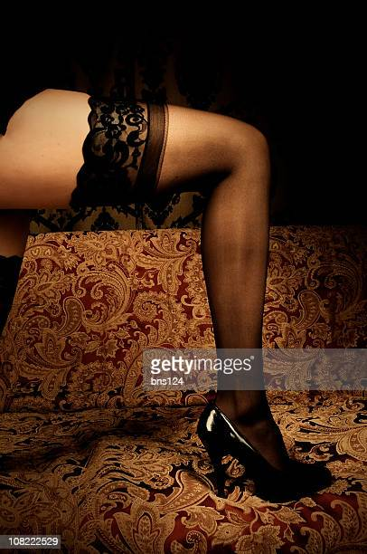 stockings - beautiful legs in high heels stock photos and pictures