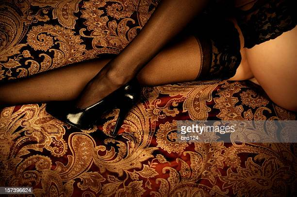 stockings - legs in nylon stock pictures, royalty-free photos & images