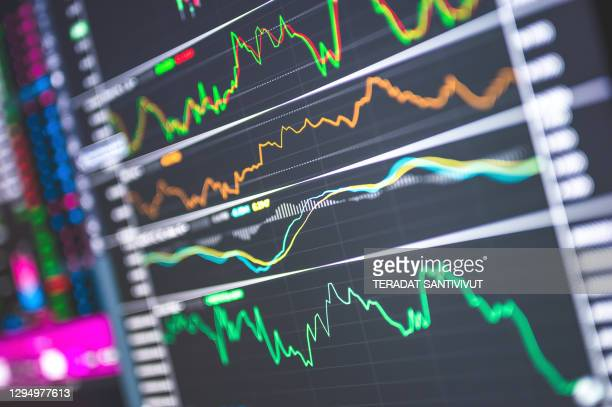 stockmarket price after covid-19 crisis business trends graphs and charts - cryptocurrency stock pictures, royalty-free photos & images