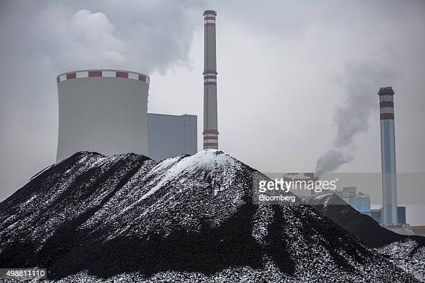 Stockpiles of brown coal sit outside the processing plant at the Bilina open pit lignite mine operated by Severoceske Doly AS a unit of CEZ AS in...