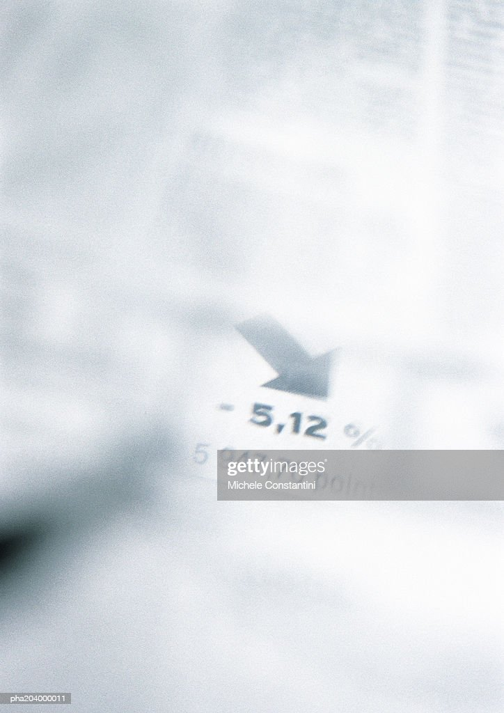 Stocks and shares information in newspaper. : Stockfoto