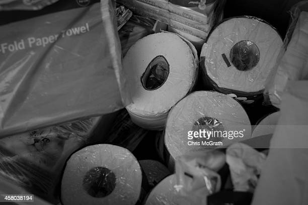 Stocks of toilet paper and tissues are seen at a supply tent on the street outside the Hong Kong Government Complex on October 29 2014 in Hong Kong...