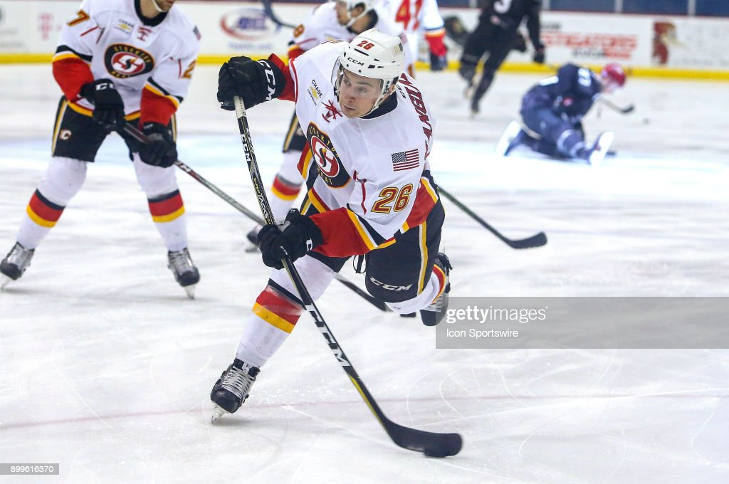 Stockton Heat left wing Andrew Mangiapane (26) warms up before a hockey game between the Stockton Heat and Tucson Roadrunners on December 23, 2017, at Tucson Convention Center in Tucson, AZ.