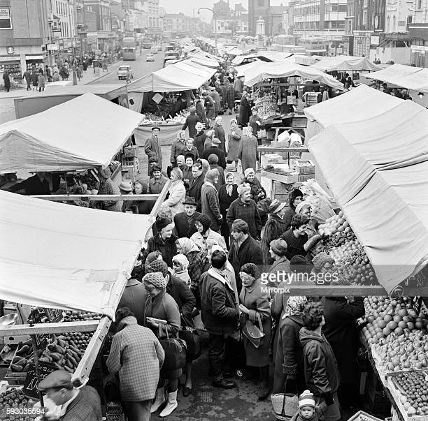 Stockton Market in Stockton-on-Tees, County Durham. 17th March 1968.