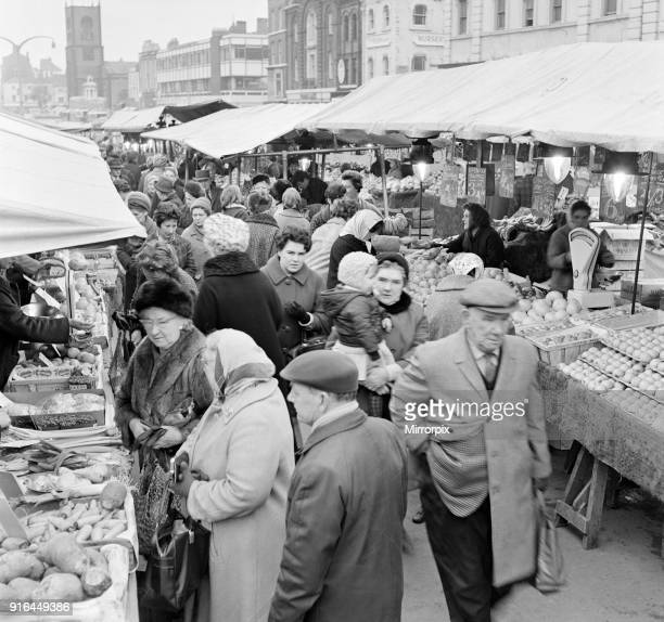 Stockton Market in Stockton-on-Tees, County Durham, 17th March 1968.