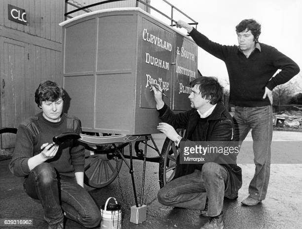 Stockton Preston Hall Museum. 12th January 1984. L-r Nigel Alexander, Ivor Jenkinson and Brian Hope, have just completed work on an impressive set of...