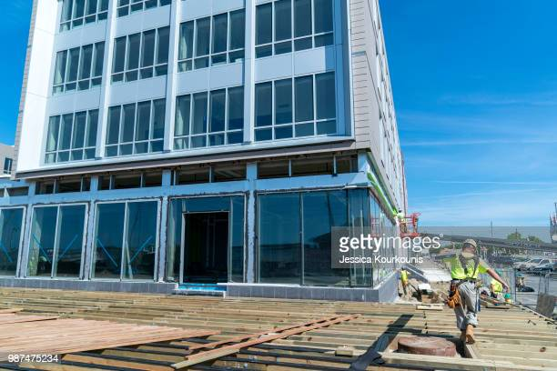 Stockton University's new campus and dorm buildings are constructed along the boardwalk on June 29 2018 in Atlantic City New Jersey In addition to...