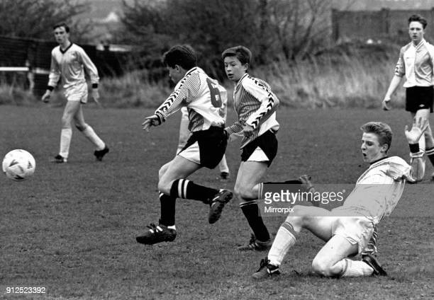Stockton v Marton, 30th April 1989. Lee Paterson slides in to tackle for Stockton but Mortons lads are away and running. Youth Football Stockton...