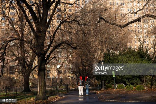 Stocq Jeanedouard and Kubica Virgine tourists from Belgium walk along Central Park on Christmas day on December 25 2017 in New York City Security in...