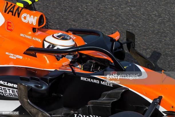 Stoffel from Belgium of McLaren Honda using the Halo during the Formula One Belgian Grand Prix at Circuit de SpaFrancorchamps on August 25 2017 in...