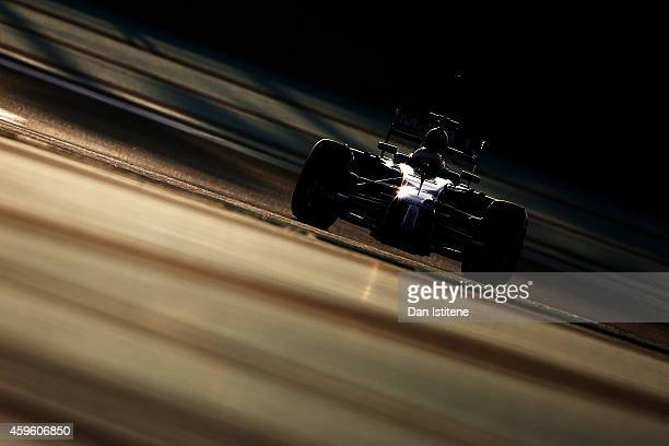 Stoffel Vandoorne of Belgium and McLaren drives during day two of Formula One testing at Yas Marina Circuit on November 26 2014 in Abu Dhabi United...