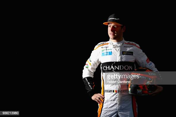 Stoffel Vandoorne of Belgium and McLaren F1 poses for a photo during previews ahead of the Australian Formula One Grand Prix at Albert Park on March...