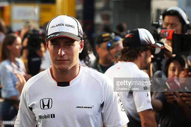 Stoffel Vandoorne of Belgium and McLaren Honda and Fernando Alonso of Spain and McLaren Honda the McLaren driver line up for the 2017 season during...