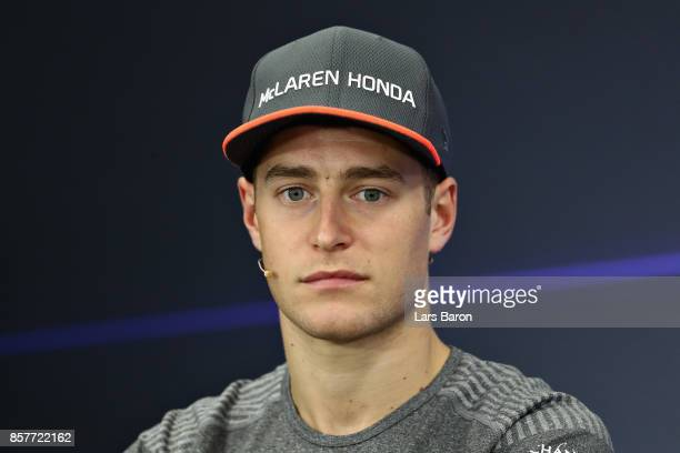 Stoffel Vandoorne of Belgium and McLaren Honda in the Drivers Press Conference during previews ahead of the Formula One Grand Prix of Japan at Suzuka...