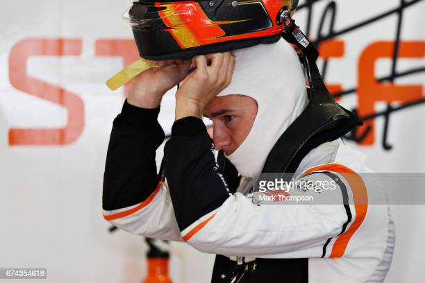 Stoffel Vandoorne of Belgium and McLaren Honda prepares to drive in the garage during practice for the Formula One Grand Prix of Russia on April 28...