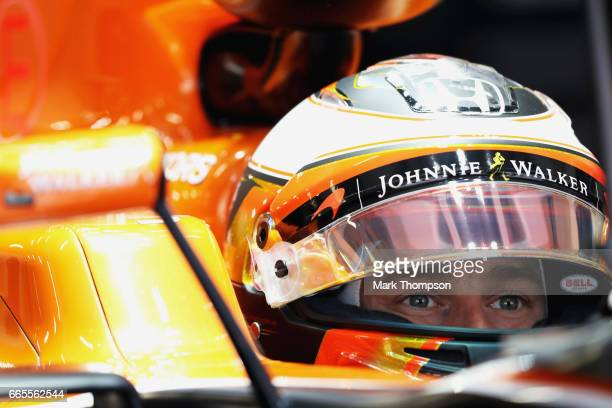 Stoffel Vandoorne of Belgium and McLaren Honda sits in his car in the garage during practice for the Formula One Grand Prix of China at Shanghai...