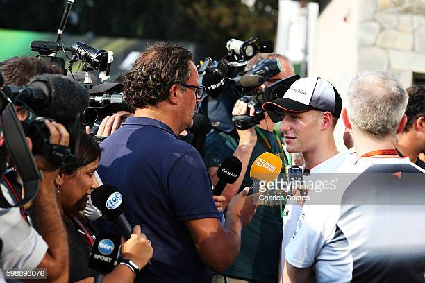 Stoffel Vandoorne of Belgium and McLaren Honda talks to the media after being announced as a race driver for McLaren for the 2017 season during...