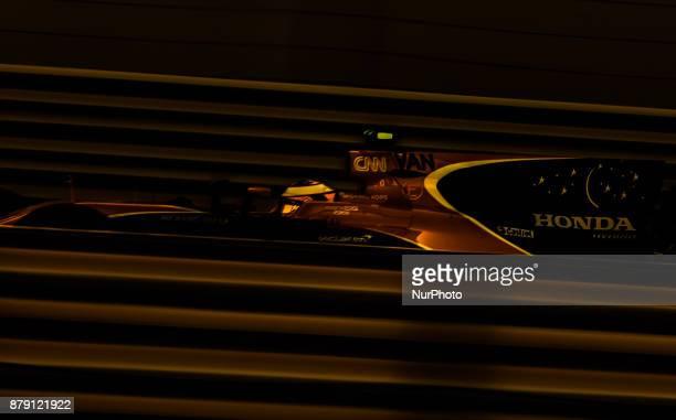 Stoffel Vandoorne of Belgium and McLaren Honda Team driver goes during the third practice at Formula One Etihad Airways Abu Dhabi Grand Prix on Nov...
