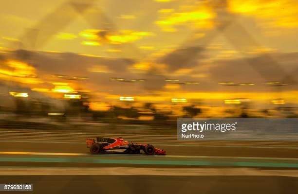 Stoffel Vandoorne of Belgium and McLaren Honda Team driver goes during the race at Formula One Etihad Airways Abu Dhabi Grand Prix on Nov 26 2017 in...