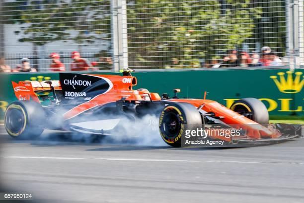 Stoffel Vandoorne of Belgium driving for McLaren Honda locks his brakes during the 2017 Rolex Australian Formula 1 Grand Prix at Albert Park circuit...