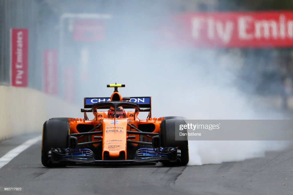 Stoffel Vandoorne of Belgium driving the (2) McLaren F1 Team MCL33 Renault locks a wheel under braking during the Azerbaijan Formula One Grand Prix at Baku City Circuit on April 29, 2018 in Baku, Azerbaijan.