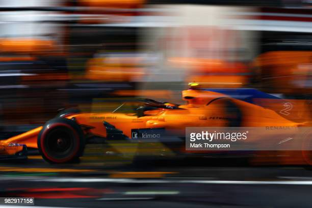 Stoffel Vandoorne of Belgium driving the McLaren F1 Team MCL33 Renault makes a pit stop for new tyres during the Formula One Grand Prix of France at...