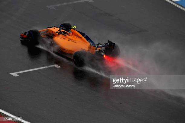 Stoffel Vandoorne of Belgium driving the McLaren F1 Team MCL33 Renault on track during final practice for the Formula One Grand Prix of Germany at...