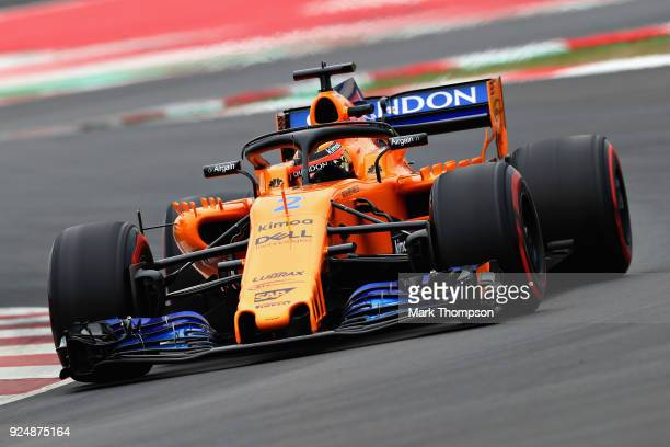 Stoffel Vandoorne of Belgium driving the McLaren F1 Team MCL33 Renault on track during day two of F1 Winter Testing at Circuit de Catalunya on...