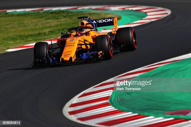 Stoffel Vandoorne of Belgium driving the McLaren F1 Team MCL33 Renault on track during day one of F1 Winter Testing at Circuit de Catalunya on March...