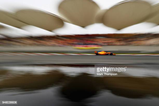 Stoffel Vandoorne of Belgium driving the McLaren F1 Team MCL33 Renault on track during final practice for the Formula One Grand Prix of China at...