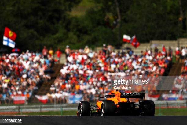 Stoffel Vandoorne of Belgium driving the McLaren F1 Team MCL33 Renault during the Formula One Grand Prix of Hungary at Hungaroring on July 29 2018 in...
