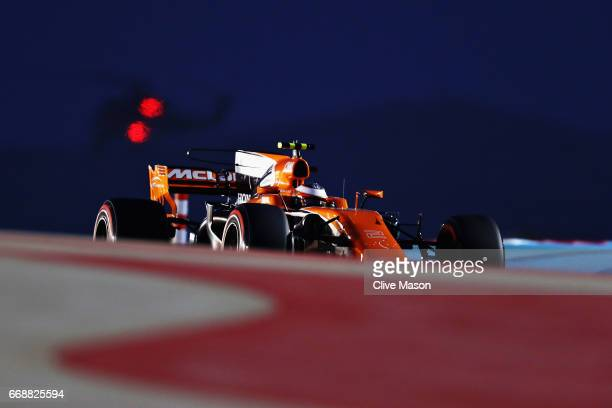 Stoffel Vandoorne of Belgium driving the McLaren Honda Formula 1 Team McLaren MCL32 on track during qualifying for the Bahrain Formula One Grand Prix...