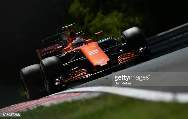 Stoffel Vandoorne of Belgium driving the McLaren Honda Formula 1 Team McLaren MCL32 on track during practice for the Formula One Grand Prix of...