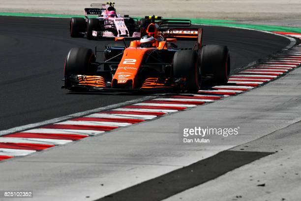 Stoffel Vandoorne of Belgium driving the McLaren Honda Formula 1 Team McLaren MCL32 on track during the Formula One Grand Prix of Hungary at...