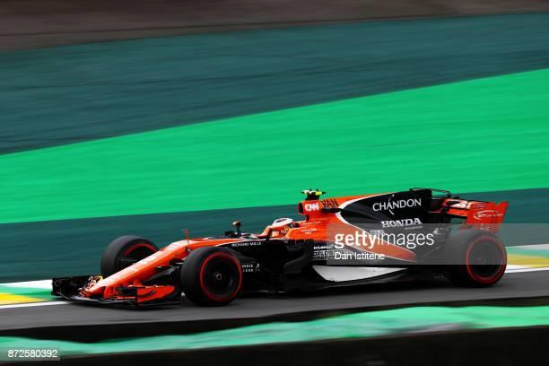 Stoffel Vandoorne of Belgium driving the McLaren Honda Formula 1 Team McLaren MCL32 on tracK during practice for the Formula One Grand Prix of Brazil...