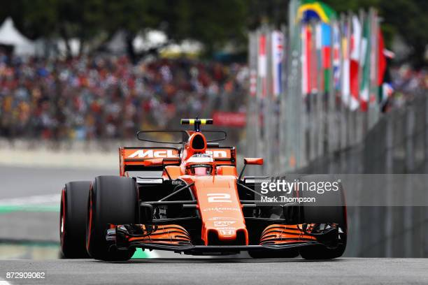 Stoffel Vandoorne of Belgium driving the McLaren Honda Formula 1 Team McLaren MCL32 in the Pitlane during qualifying for the Formula One Grand Prix...