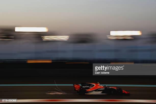 Stoffel Vandoorne of Belgium driving the McLaren Honda Formula 1 Team McLaren MCL32 on track during practice for the Abu Dhabi Formula One Grand Prix...