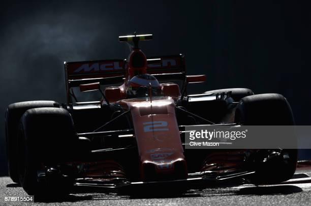 Stoffel Vandoorne of Belgium driving the McLaren Honda Formula 1 Team McLaren MCL32 on track during final practice for the Abu Dhabi Formula One...